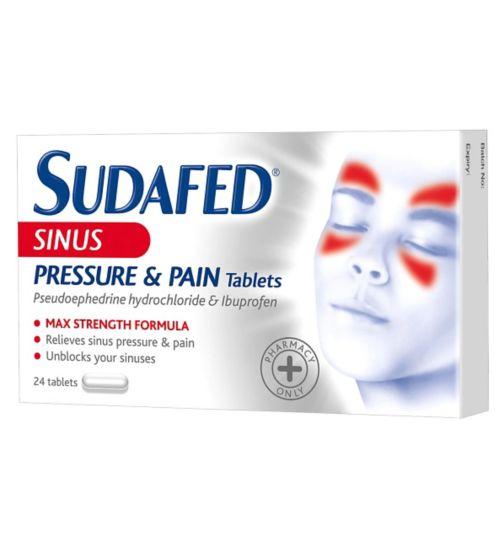 Buy Sudafed Sinus Pressure And Pain 24 Tablets Online | Chemist.co.uk