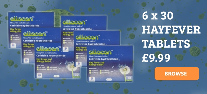 Allacan Cetirizine Hayfever & Allergy 30 Tablets 6 Pack